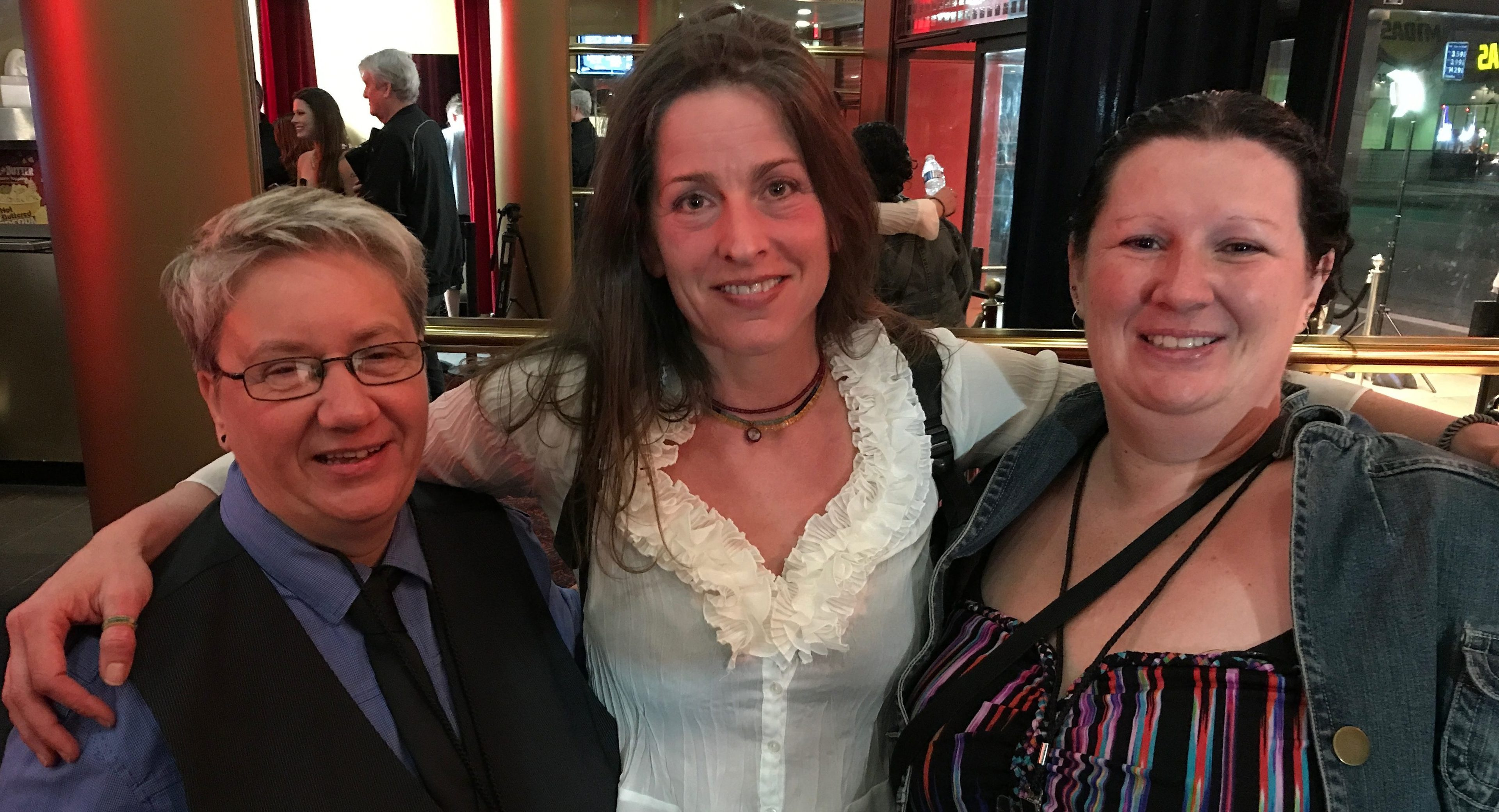 Alison Davie (left) with Artemis Film festival founder Melanie Wise and producer Zuleika Gilbert.