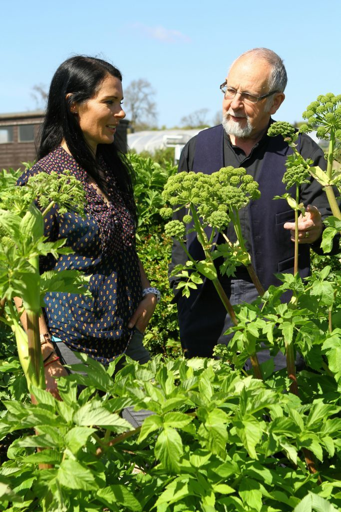 Dr Geoff Squire points out an angelica plant to Gayle.