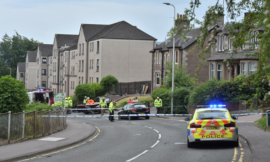The accident scene on Crieff Road.