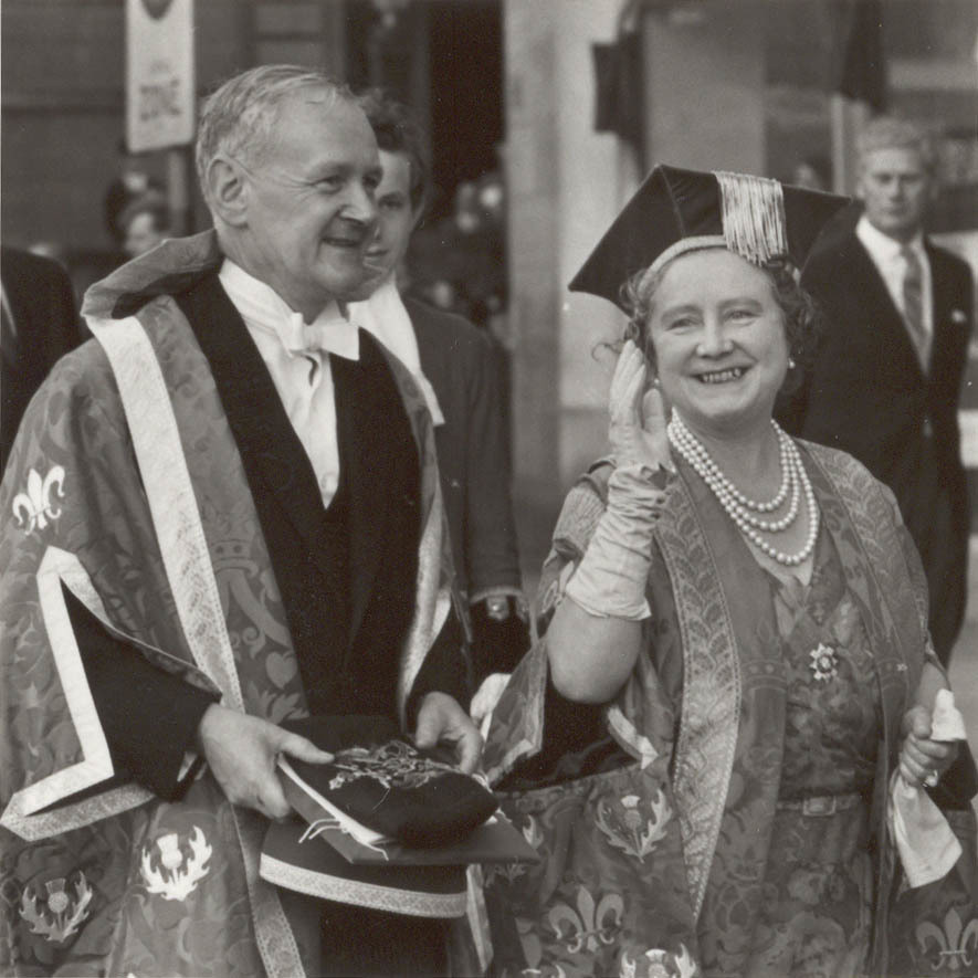 The Queen Mother with Principal Drever in 1967
