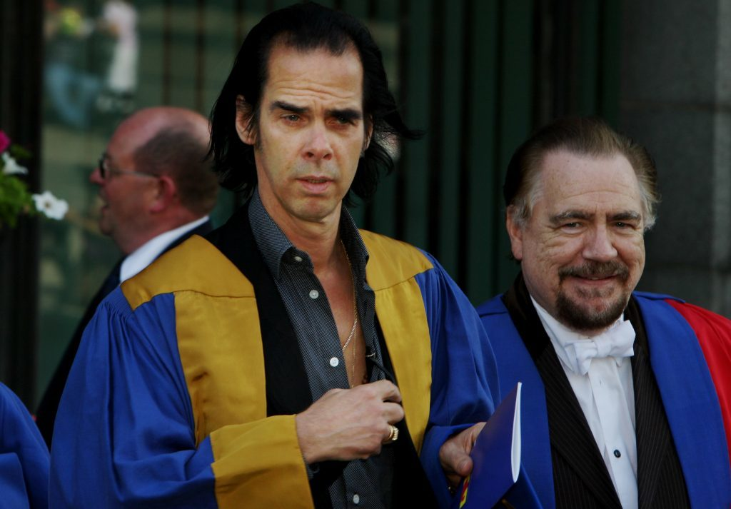 Musician Nick Cave and Hollywood actor Brian Cox at Dundee University in 2010