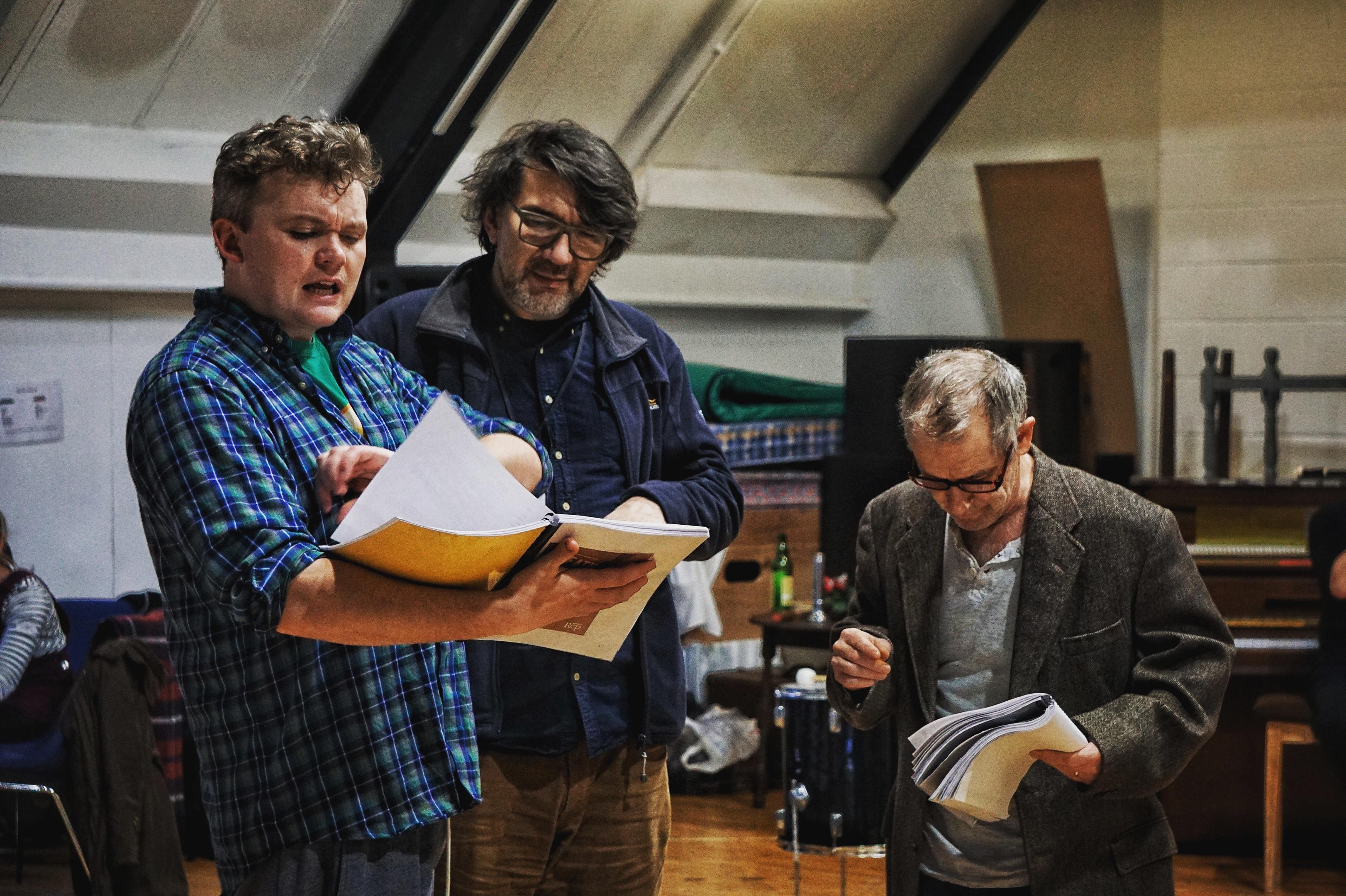 Joe Douglas, Nikola Kodjabashia and Billy Mack during rehearsals for Death of a Salesman.