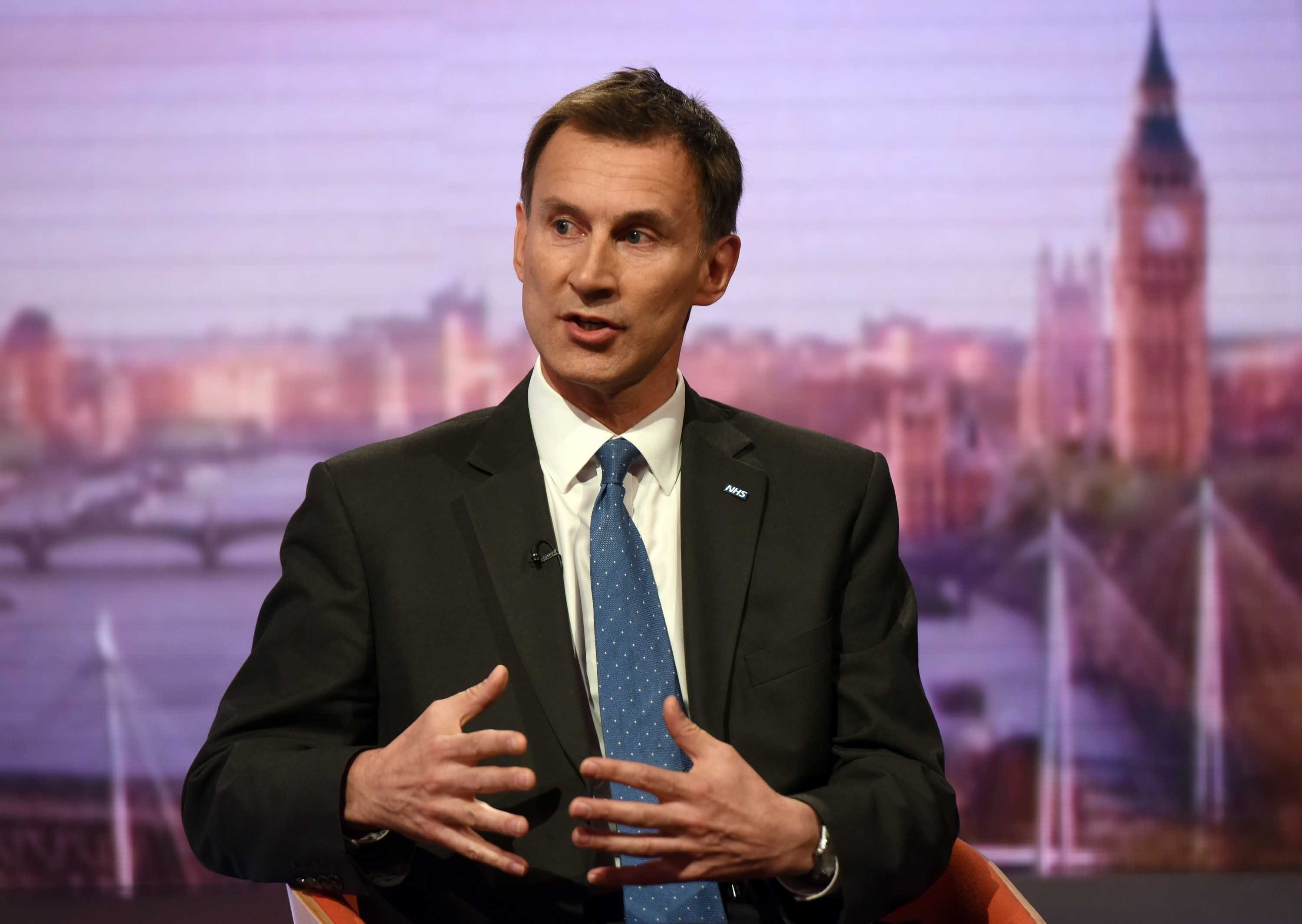 Health Secretary Jeremy Hunt appearing on the BBC One current affairs programme, The Andrew Marr Show.