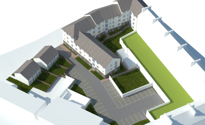 A computer generated image of the development.