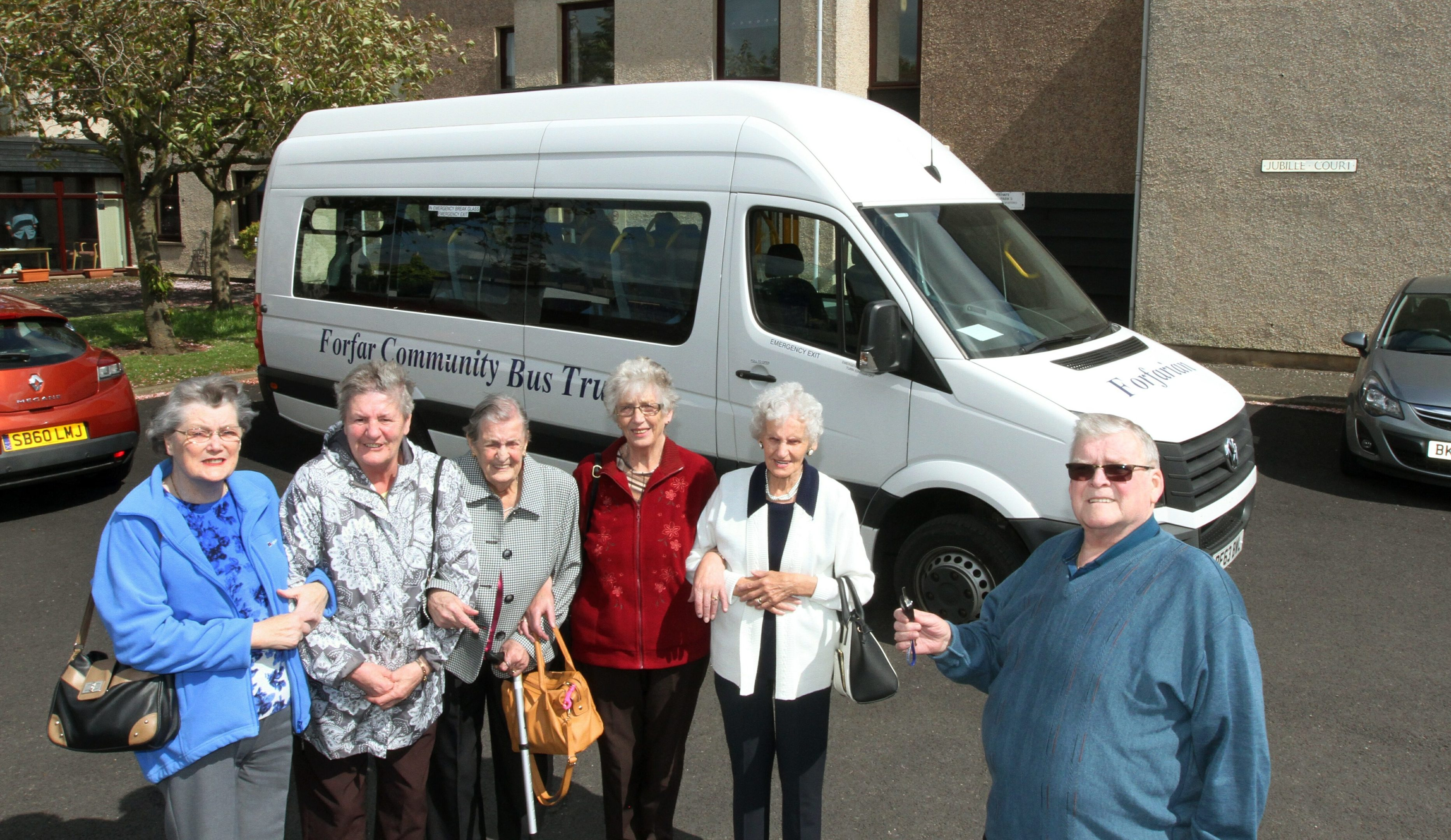 Driver Randall McCoubrey picks up ladies, June Baldwin,Ella Nicoll,Alison Bolton,Cathy Rae and Pearl Bruce from the Jubillee Court sheltered Housing in Letham