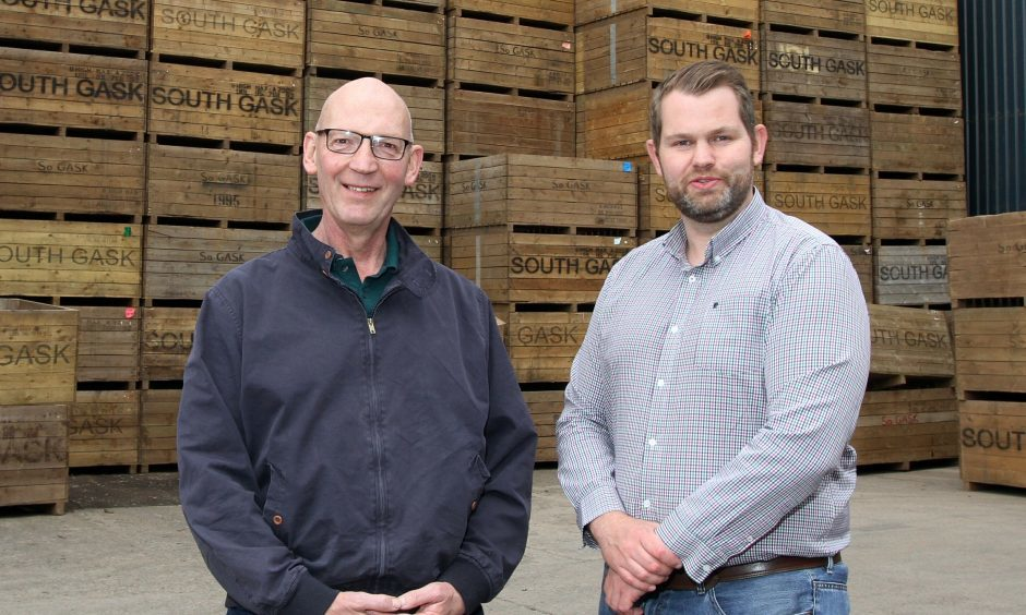 Courier Farming- Grampian Growers potato exporters,South Gask Farm,Couper Angus,picture shows; David Murdie (glasses) and Sandy McGowan ,wednesday 17th May.