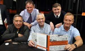 From left: Jim McInally, John Holt, Dave Narey, Paul Hegarty and Dave Bowman at the launch.