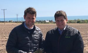 James Brunton (Asparagus grower) and Gary Grace (fresh produce buyer at Waitrose)_high res