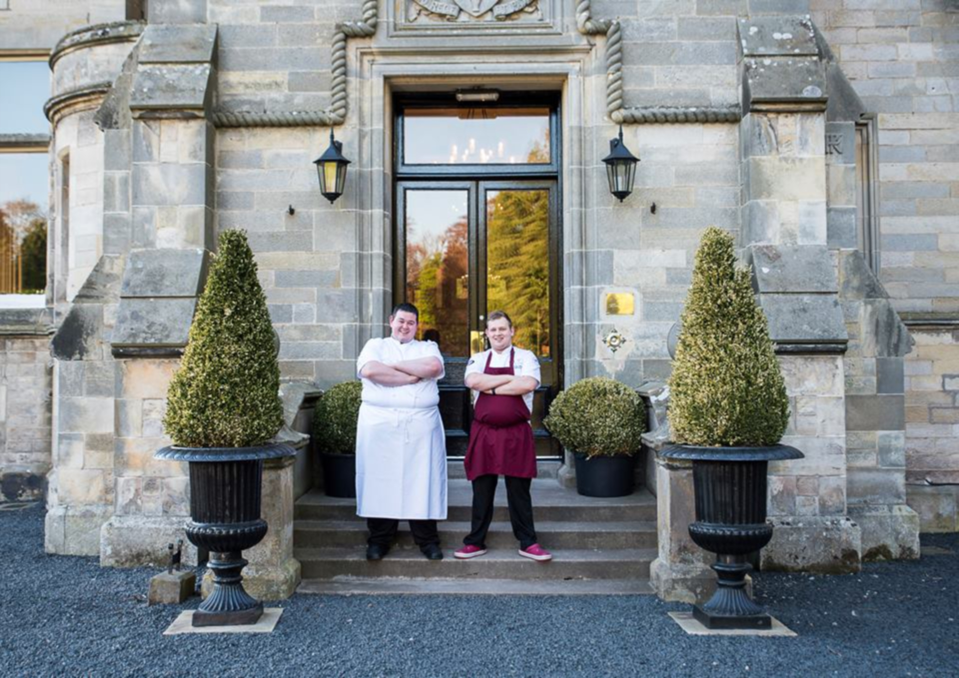 Top chefs Mark Heirs and Adam Newth outside Kinnettles Castle in Angus.