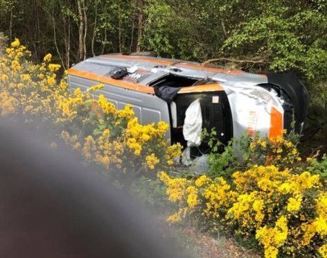 The scene of the crash near Marykirk.
