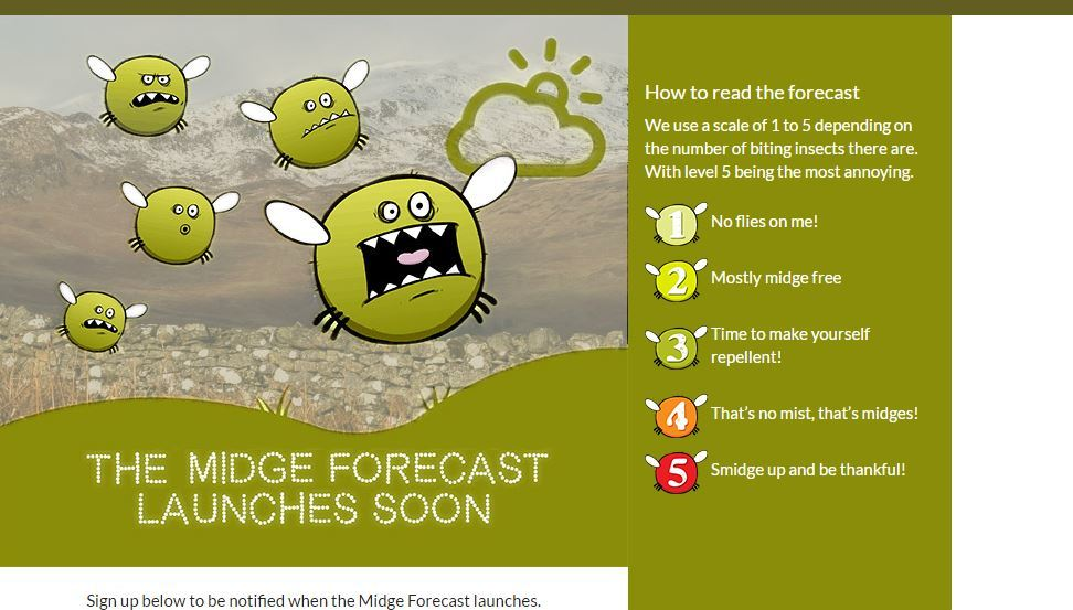The midge forecast will launch soon.