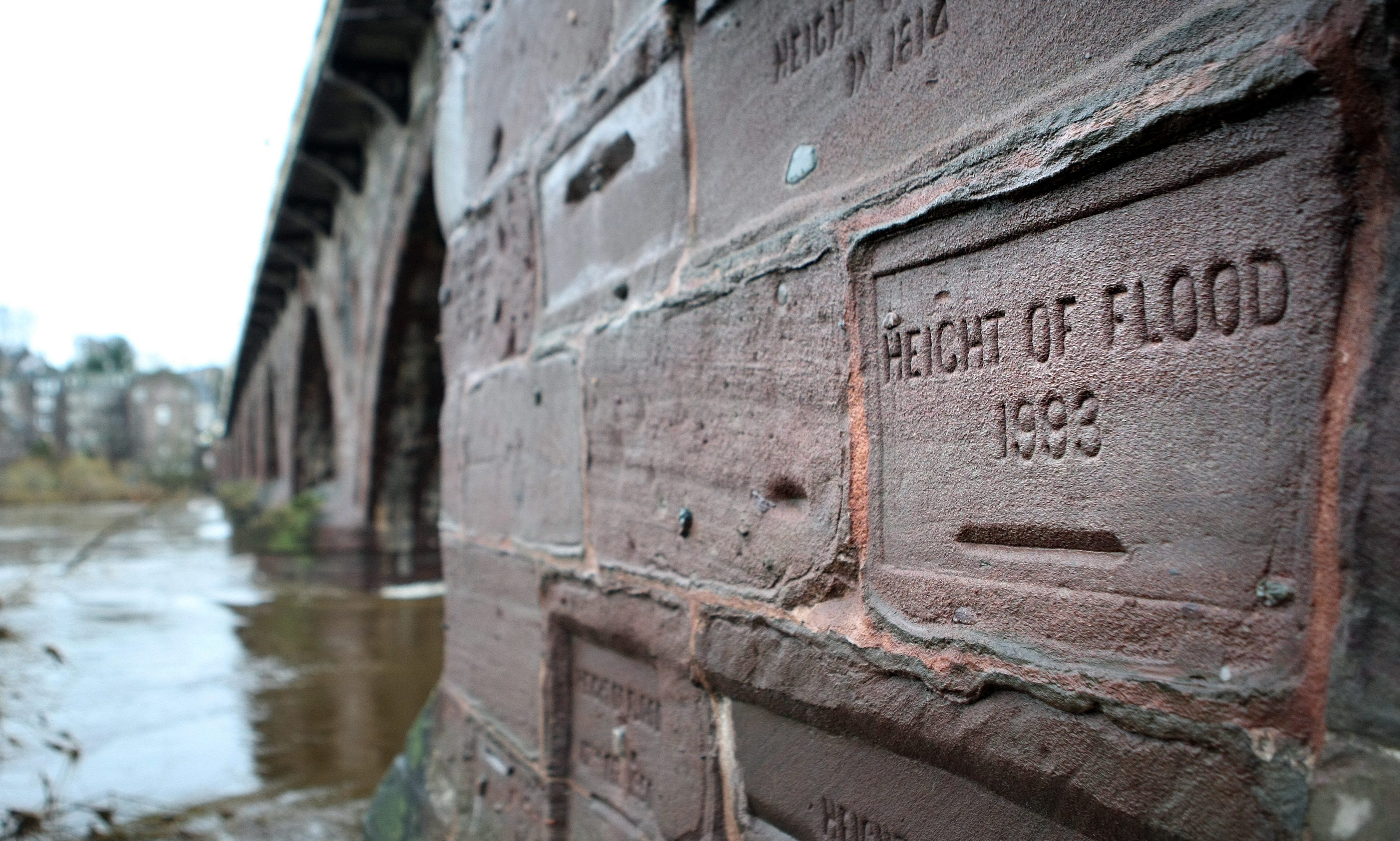 Marks on Smeatons Bridge show the height of floods the historic crossing has survived. It will undergo maintenance as part of the council programme.