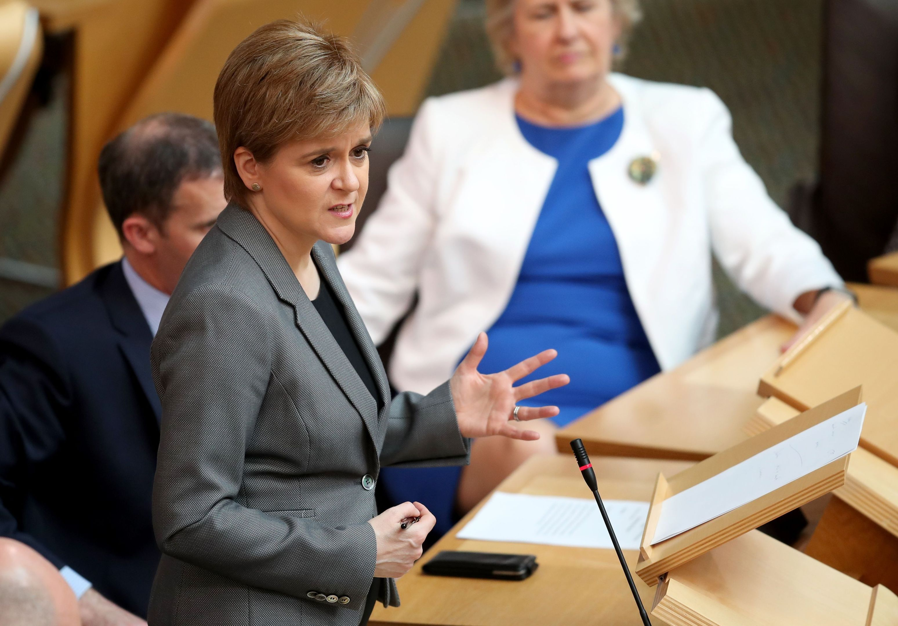 First Minister Nicola Sturgeon delivers her Security in Scotland statement to MSPs in the main chamber of the Scottish Parliament.