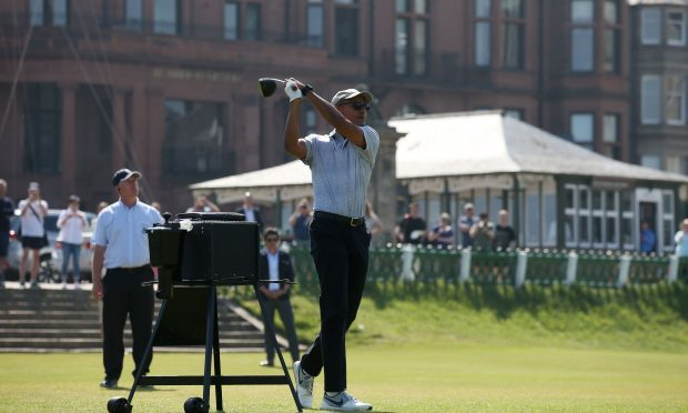 Former president Barack Obama plays a round of golf at St Andrews