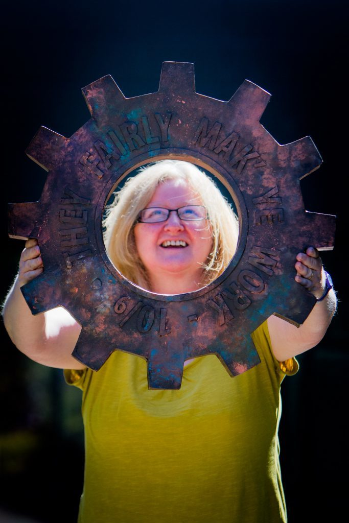 Pam Kelly, HNC Contemporary Art Practice, with her 'Cog'.