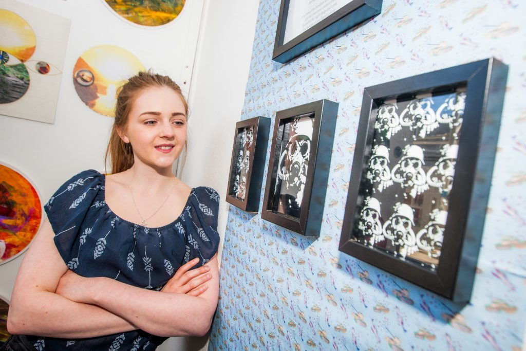 HND Contemporary Art Practice student Amiee MacIntosh, with her World War(s) inspired work.