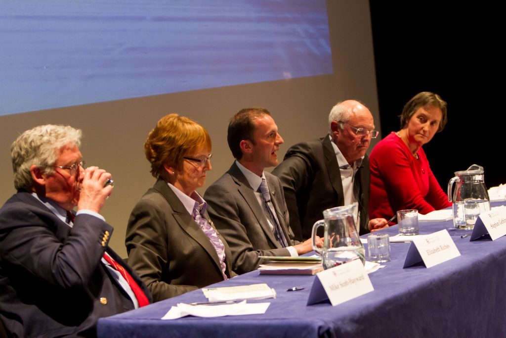 Candidates (from left) Mike Scott-Hayward, Elizabeth Riches, Stephen Gethins, Tony Miklinski and Rosalind Garton.
