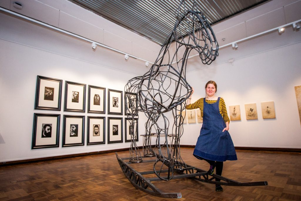 Ulrika Kjeldsen, 23, and her piece, Clydesdale Rocking Horse.
