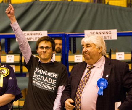 Councillor Xander McDade (left) beside the late Ian Campbell.