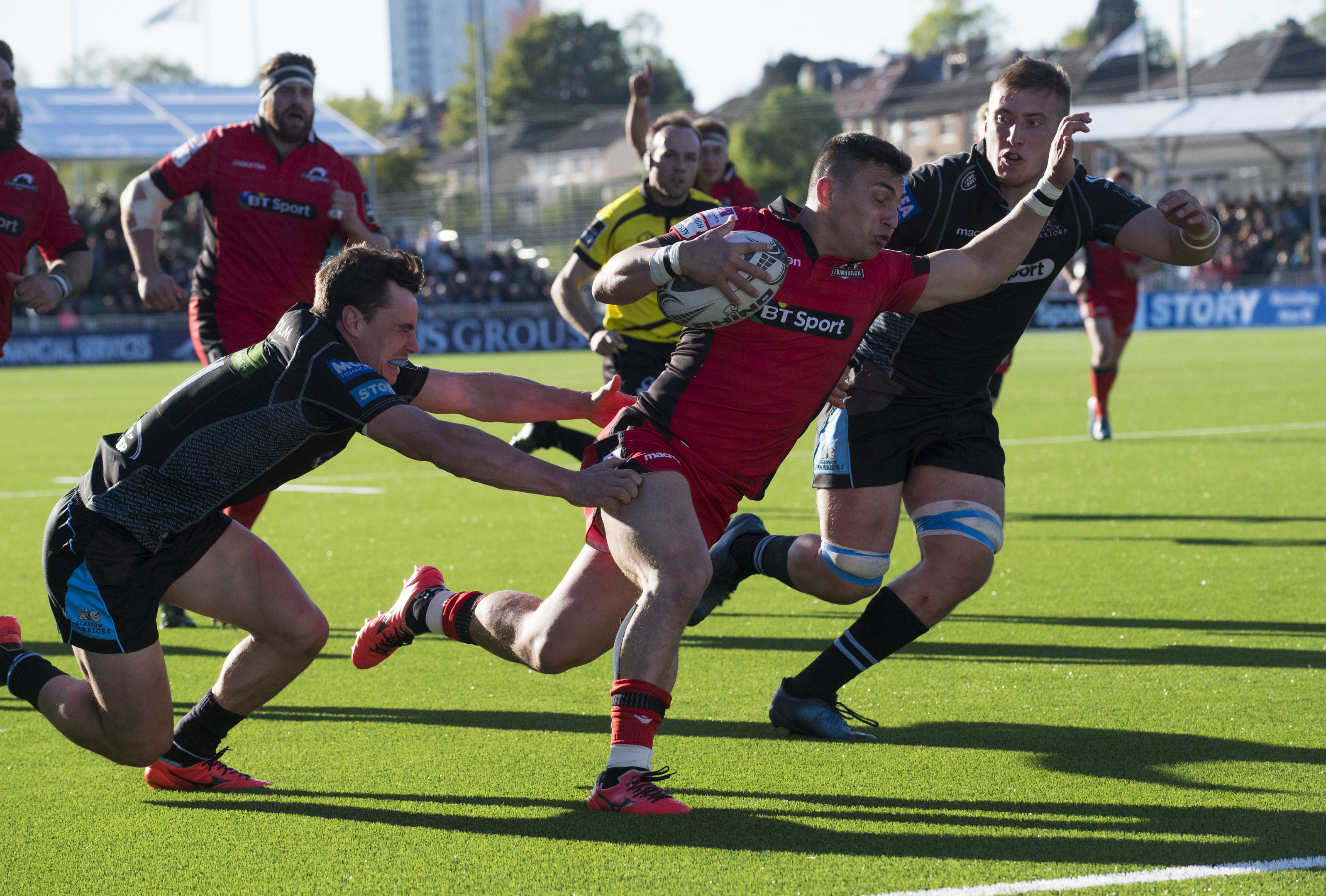 Damien Hoyland goes in for Edinburgh's first try at Scotstoun.