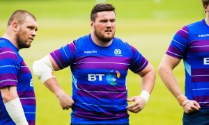 Zander Fagerson spots the difference between Gregor Townsend and Vern Cotter at training this week.