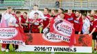 Brechin celebrate at full-time as they are promoted to the Ladbrokes Championship.