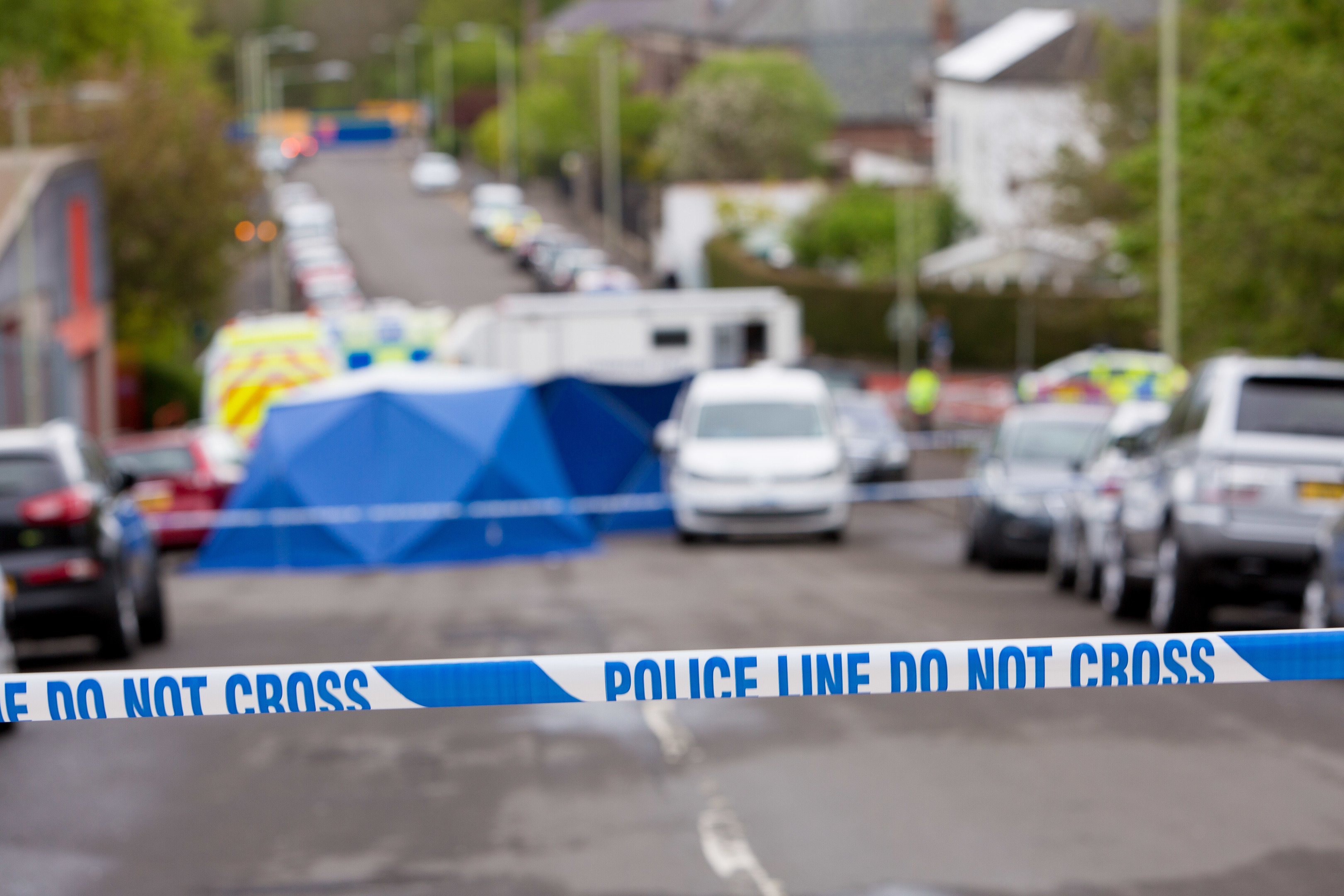 Police investigations at the scene of Gary McMillan's death,