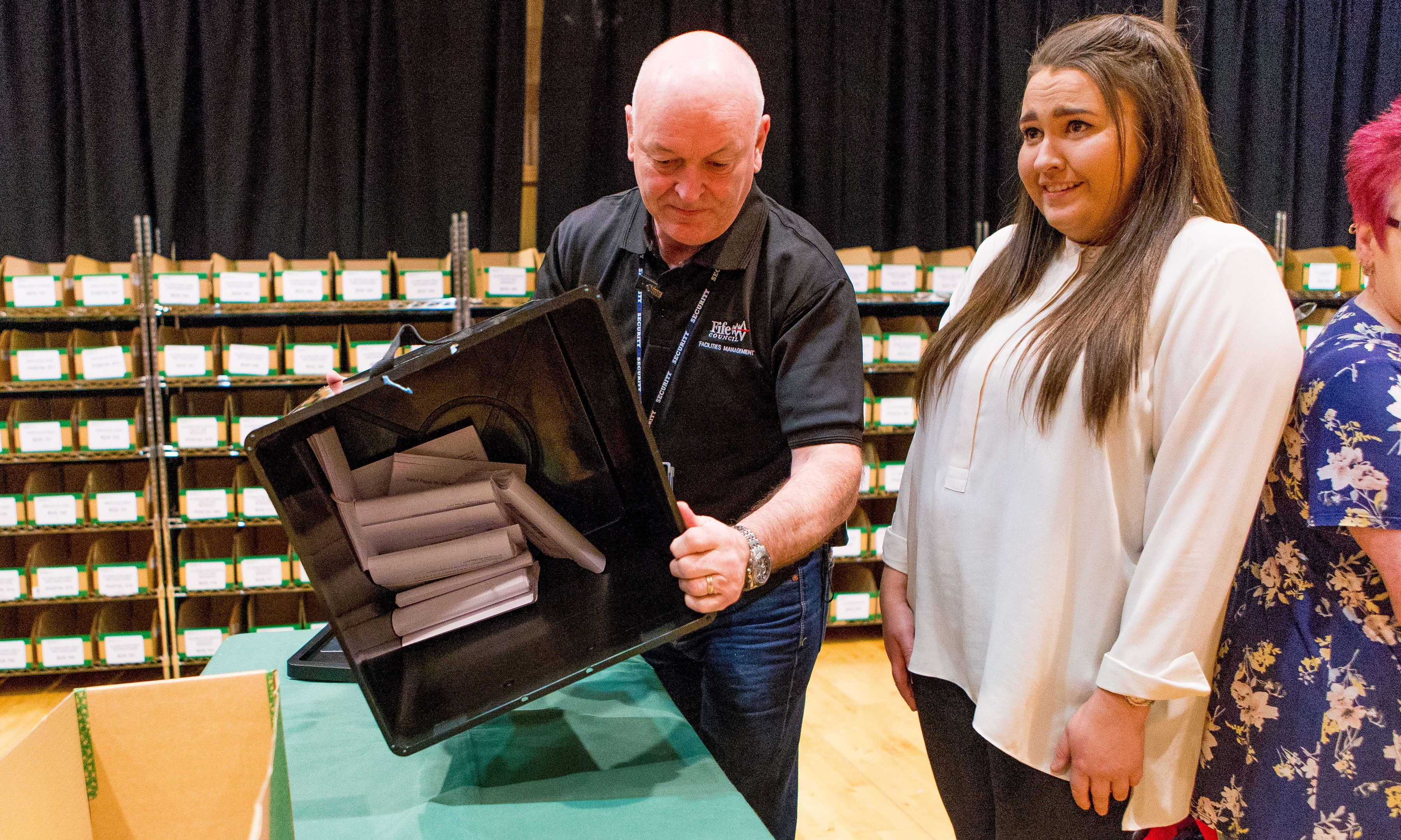The first ballot box being opened at Rothes Halls in Glenrothes.