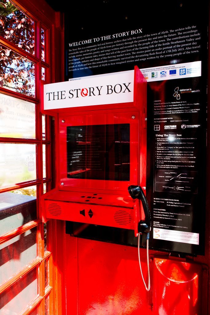 The telephone box in Alyth now converted into The Story Box.