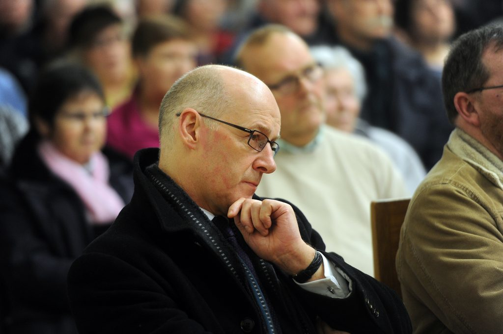 John Swinney at a public meeting about the Scone proposal.