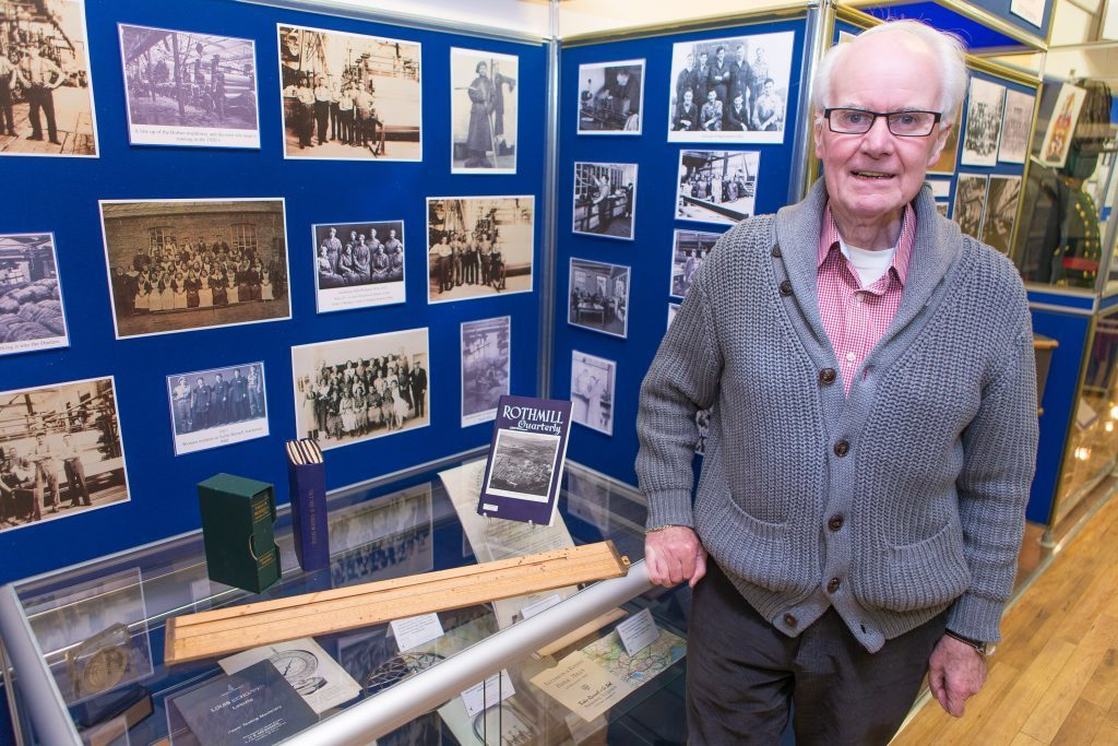 Exhibition depicting the Rise and Fall of the Tullis Russell Papermill in Glenrothes. - Trustee David Brown (73) from Glenrothes is pictured with photographs