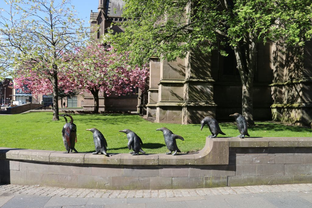 Tatha Gallerys resident penguin by artist Helen Denerley - on the road in Dundee!
