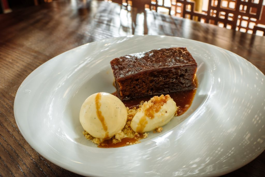 Paul's sticky toffee pudding, Caol Ila butterscotch sauce and vanilla ice cream.