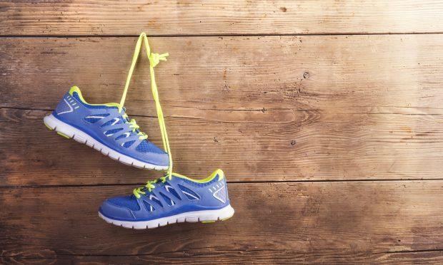 Sneakers on the floor