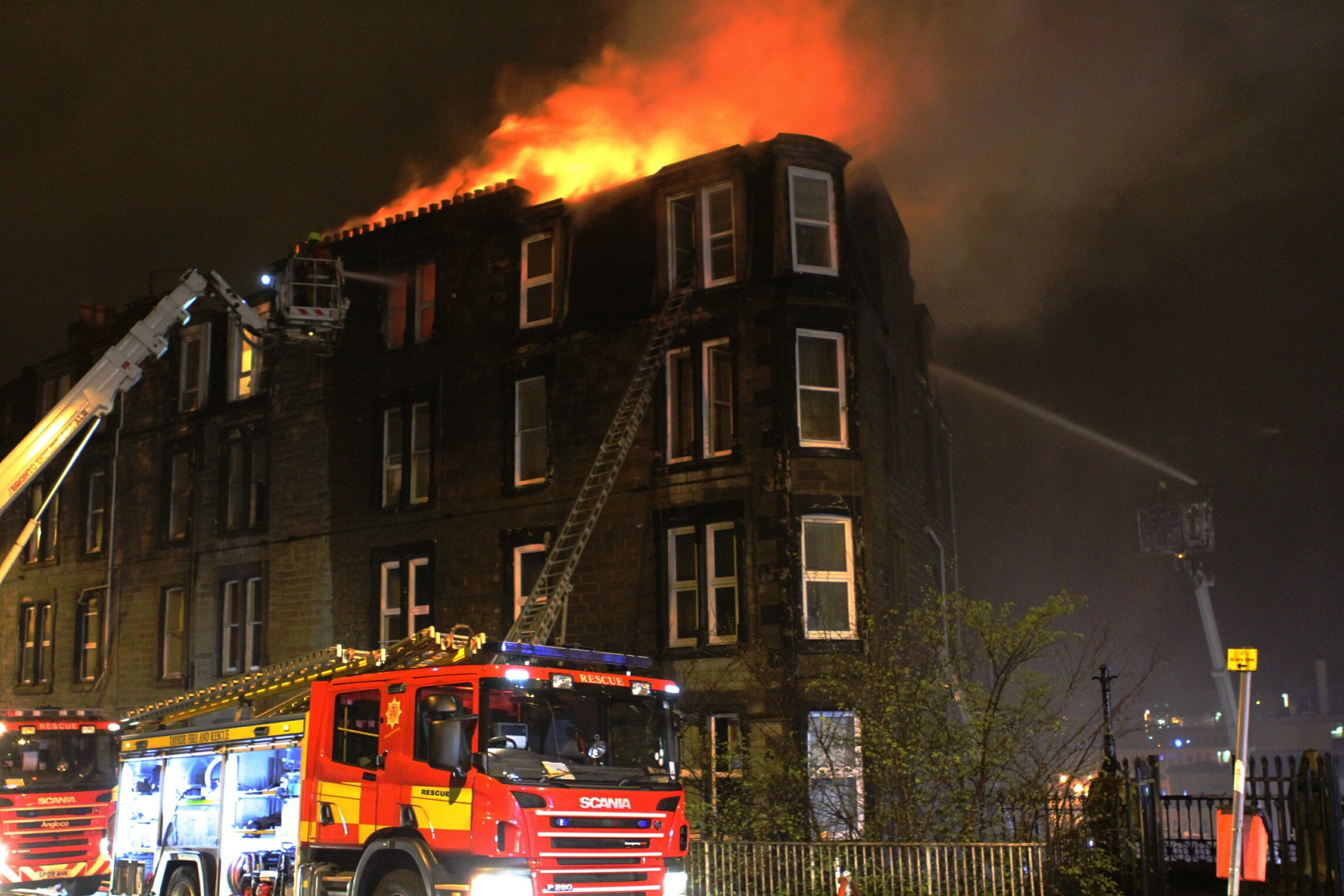 The scene of the fire in a tenement block at Garland Place, Dundee.