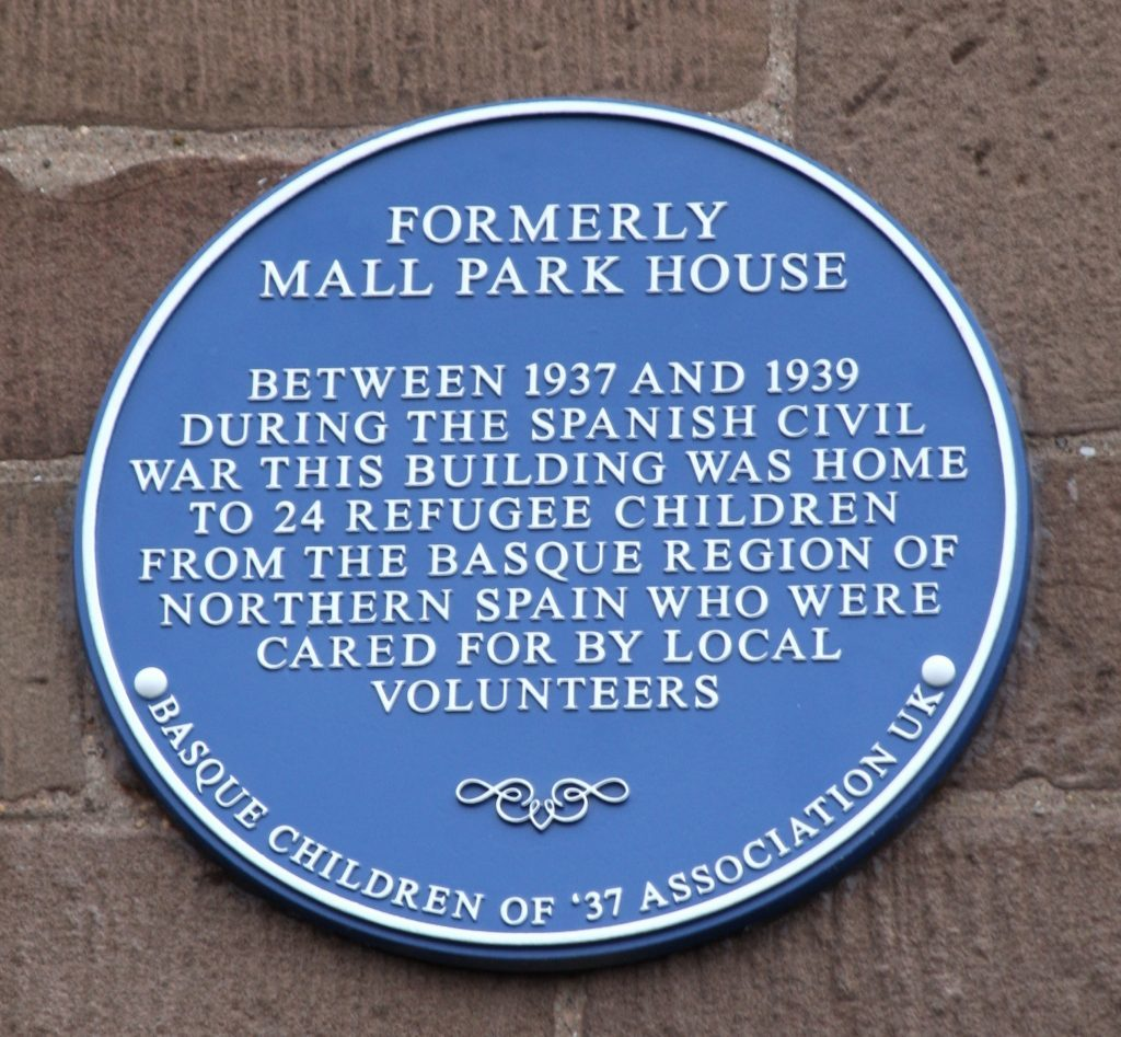 The plaque at Mall Park House in Montrose