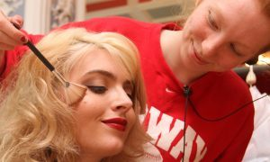 Lead female Tara Lee as Shona, getting her make up done by Cat McQueen.