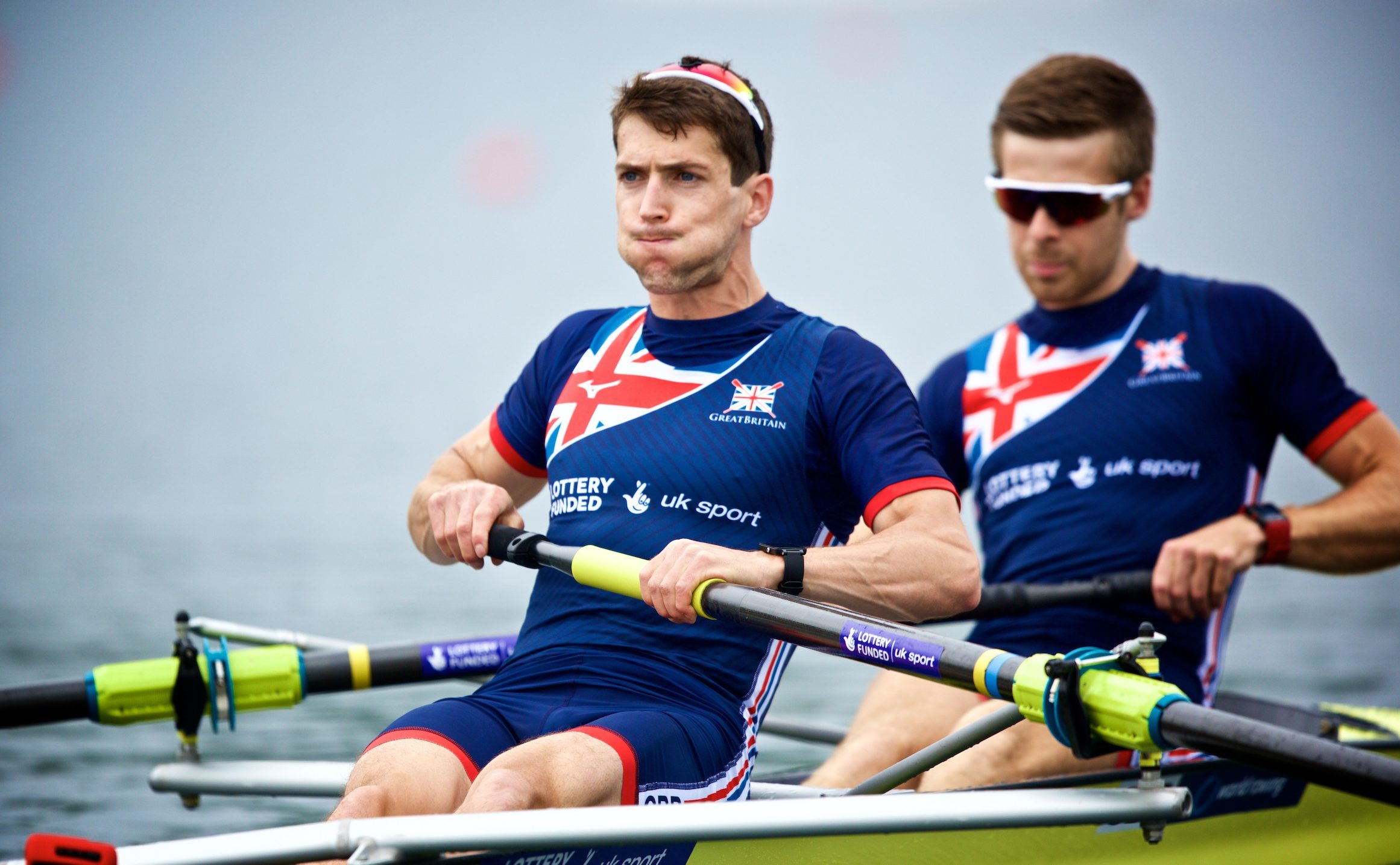 Sam Scrimgeour (left) with rowing partner Joel Cassells.