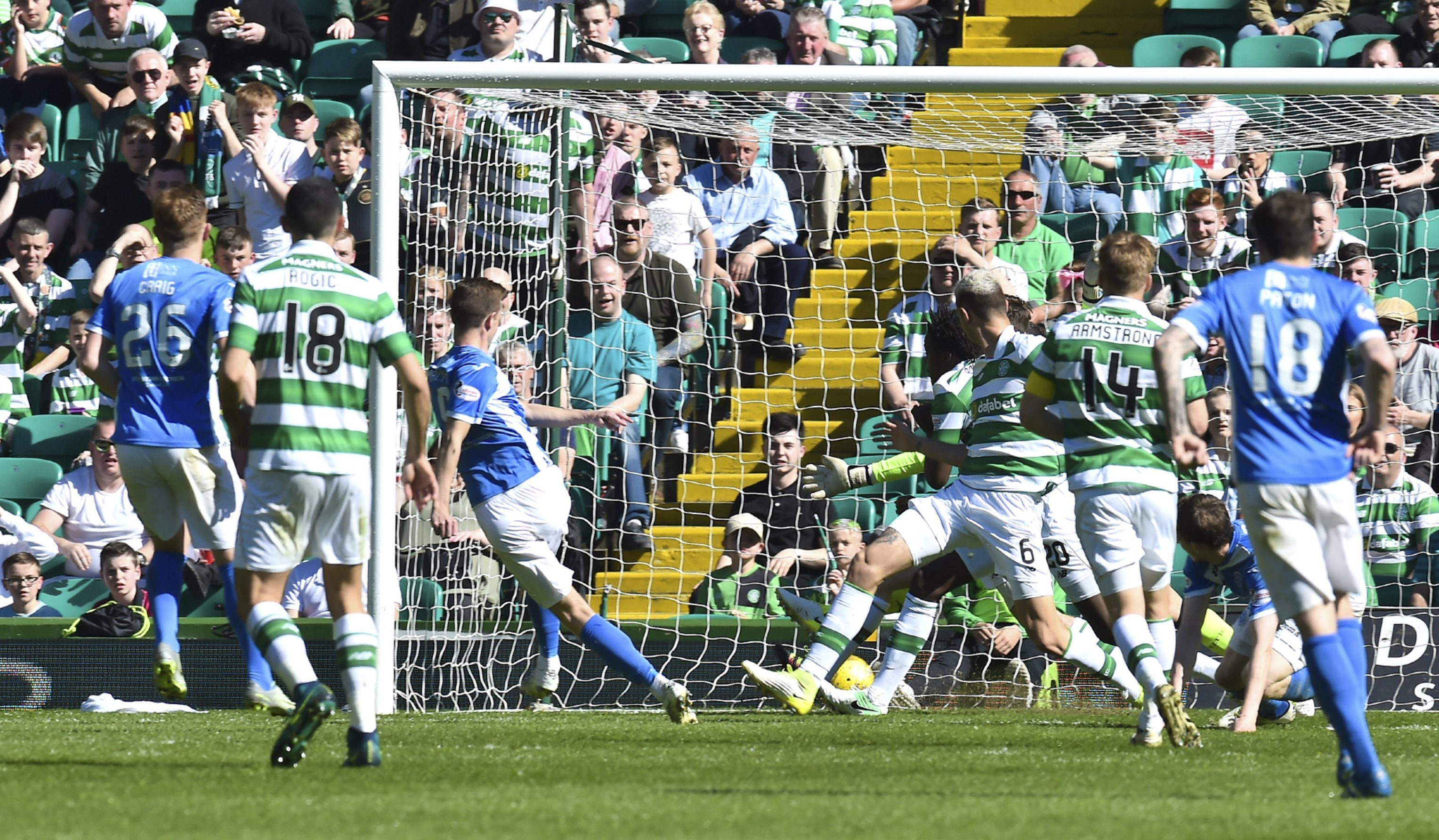 Steven MacLean (third from left) scores for Saints.