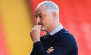16/05/17 LADBROKES PREMIERSHIP PLAY OFF SEMI-FINAL 1ST LEG  DUNDEE UNITED v FALKIRK  TANNADICE - DUNDEE  Dundee United manager Ray McKinnon on the touchline.