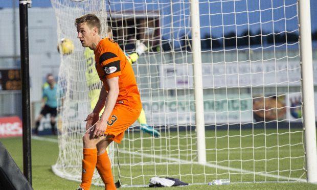 19/05/17 LADBROKES PREMIERSHIP PLAY OFF SEMI-FINAL 2ND LEG  FALKIRK v DUNDEE UNITED  FALKIRK STADIUM - FALKIRK  Dundee United's Paul Dixon puts his side in the lead