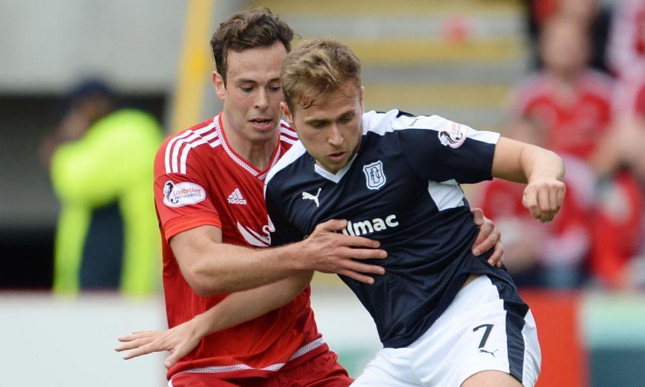 Greg Stewart playing against Aberdeen.
