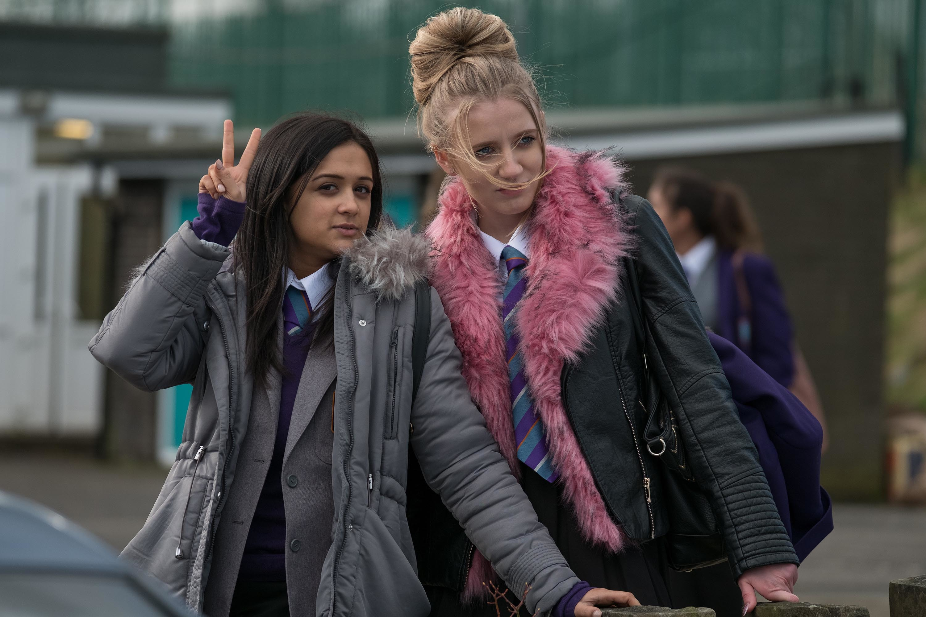 Amy Leigh Hickman as Nasreen Paracha and Poppy Lee Friar as Missy Booth in Ackley Bridge.