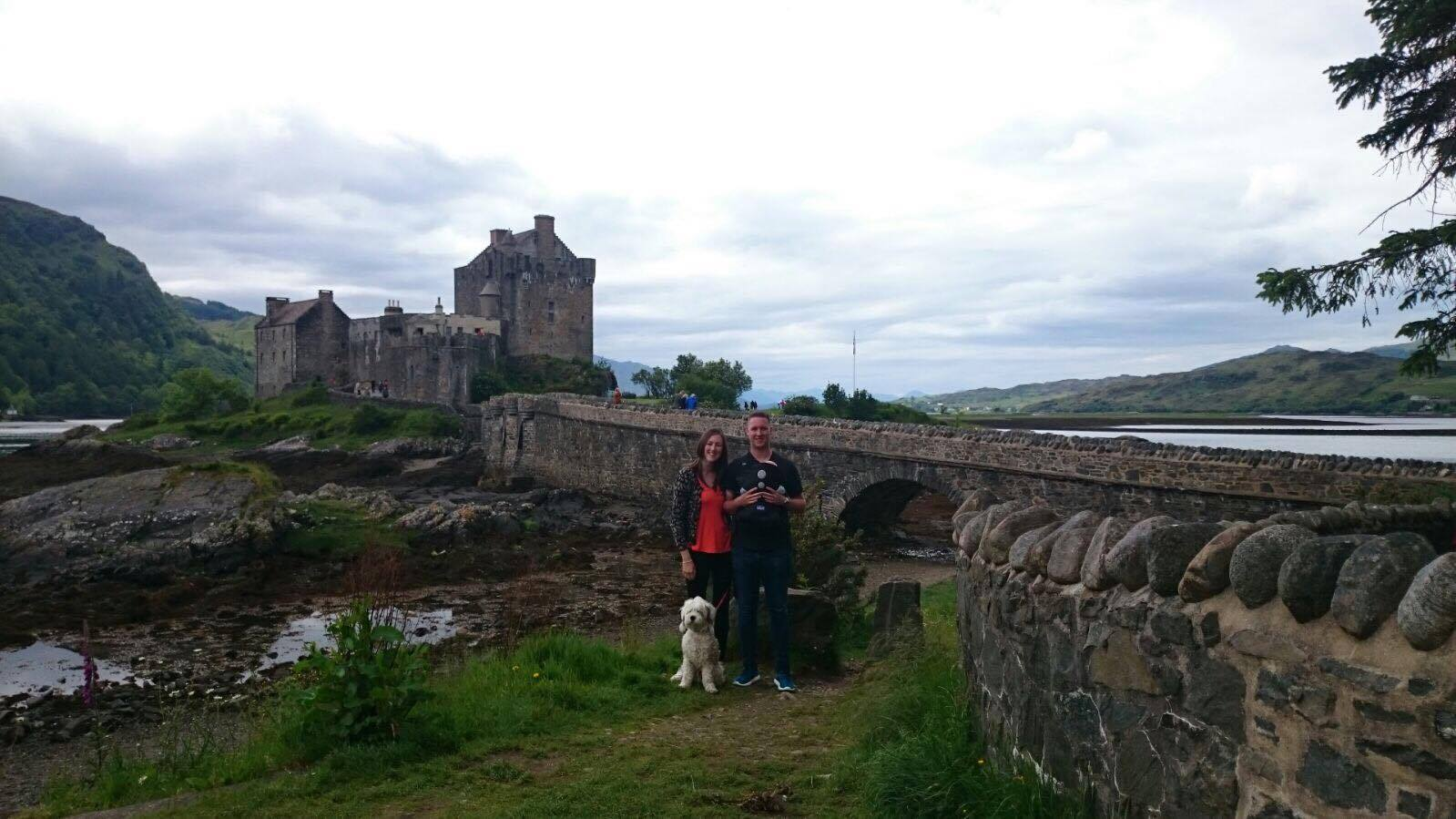 Mark, Sarah and Oliver with the family dog during their visit to the castle when the camera was lost.