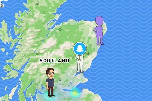 Three Snap Map users in Scotland.