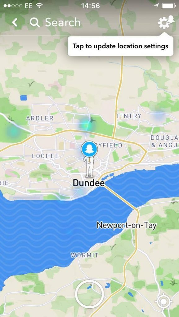 How a Bitmoji looks in Dundee using Snap Map.