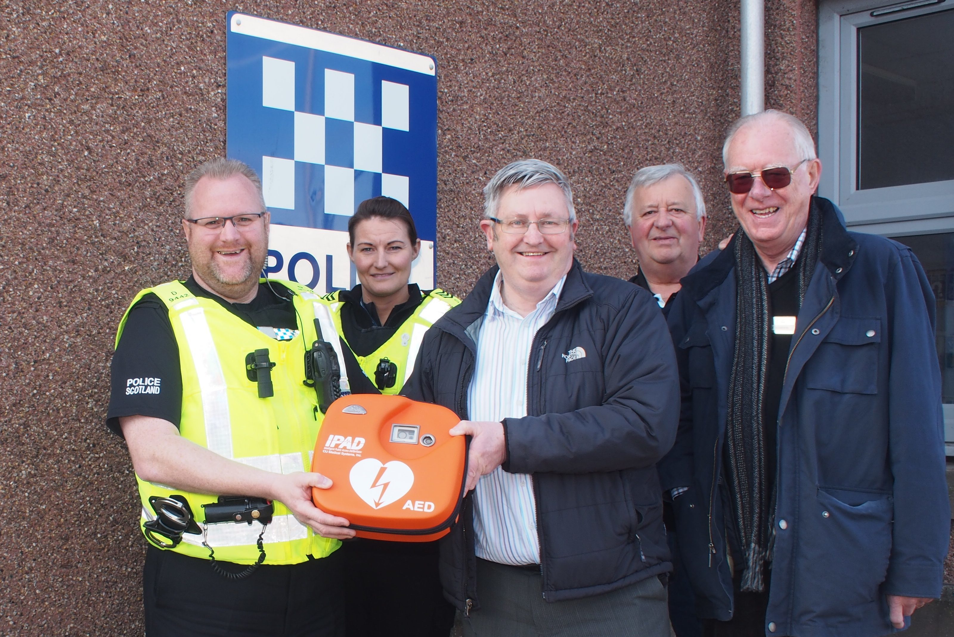 The latest Arbroath defibrillator was installed outside the police station in Gravesend