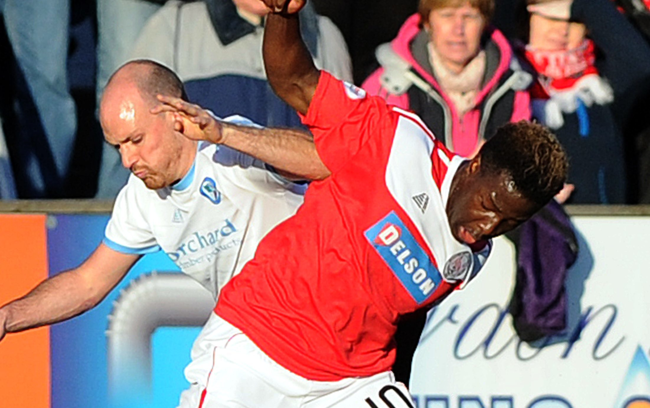Isaac Layne, right, in action for Brechin.
