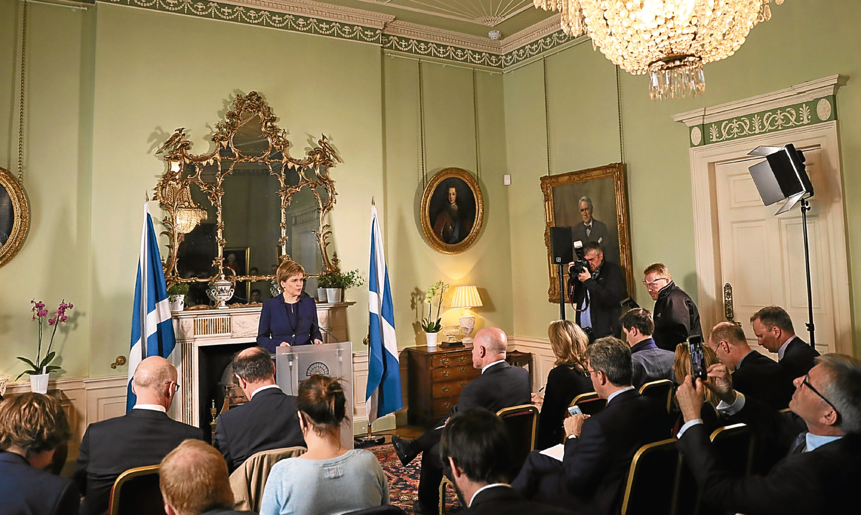 Nicola Sturgeon addresses journalists at Bute House