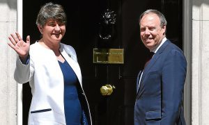 DUP leader Arlene Foster and MP Nigel Dodds arrive at 10 Downing Street for talks with Theresa  May, a development that concerns Alex.